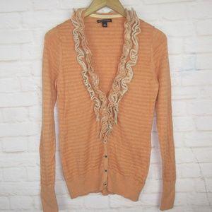 Banana Republic Orange Ruffle Knit Cardigan